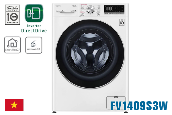 LG FV1409S3W, Máy giặt LG 9kg cửa ngang [Giá rẻ nhất 2020]